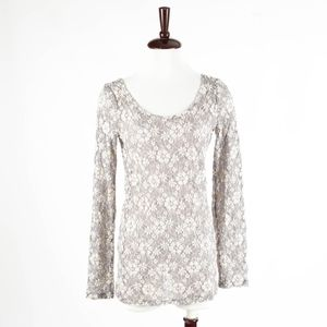 ANTHROPOLOGIE – Floral Lace Sweater Top – Size S